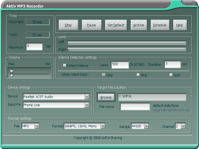 Click to view Aktiv MP3 Recorder 4.6.0 screenshot